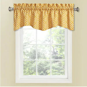 "WAVERLY Curtain Rod Pocket Drapery LOVELY LATTICE MIMOSA WAVE VALANCE 50""x 16"""