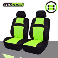 Universal Car Seat Covers Green Black Steering Wheel Cover Set 2 Front Seat