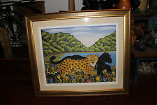 Superb Lithograph Black Panthers Spotted Tigers-Signed Parastis-Numbered-Framed