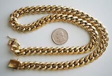12 mm 24inMen Cuban Miami Link NECKLACE Chain Set14k Gold Plated Stainless Steel