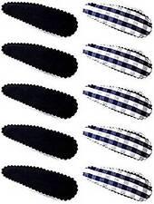 Un Ensemble de 10 Bleu Marine Carreaux et Blanc Barrettes à Cheveux / Épingle à