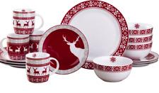 16 Piece Dinner Set Red and White Christmas Reindeer Design Porcelain Dinnerware
