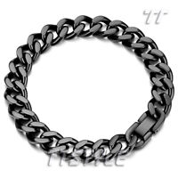 Quality TT 11mm Width Black Stainless Steel Curb Chain Bracelet BBR234D NEW