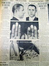<1936 displ newspaper HINDENBURG TAKES OFF Karpis-Barker Gang Gangster ARRESTED