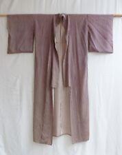 "Vtg Mid-20th Century Handmade Japanese Kimono Robe Brown & Beige Stripe 57""L"