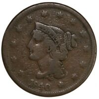 Raw 1840 Braided Hair 1C Large Date Uncertified Ungraded US Copper Large Cent