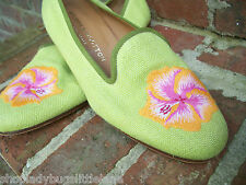 STUBBS & WOOTTON CHARTREUSE GREEN CANVAS PINK & ORANGE FLOWER LOAFER SLIPPER 7