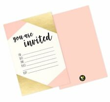 """36 Pack Pink and Gold Foil """"You Are Invited"""" Minimalist Party I. Free Shipping"""
