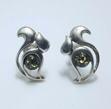 NATURAL BALTIC AMBER 925 STERLING SILVER STUD EARRINGS SQUIRREL SHAPE