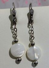 BOUCLES D'OREILLES VINTAGE NACRE PLAQUE ARGENT EARRINGS mother-of-pearl T158