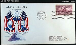 """US SC 787 FDC WITH CACHET """"ARMY HEROES"""" 18 FEB 1937 3¢ GRANT, SHERIDAN & SHERMAN"""