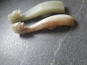 2 FIBULES chinoise en JADE Chine jadeite antique dragon Qilong