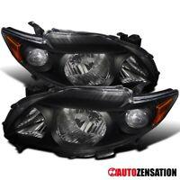 For 2009-2010 Toyota Corolla Pair Black Headlights Head Lamps+Amber