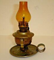Vintage Miniature Metal Finger Kerosene Oil Lamp w/ Amber Glass Chimney (A)