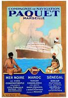 VINTAGE FRENCH CRUISE ART PRINT - PAQUET MARSEILLE by Hook 27.5x39.5 Poster