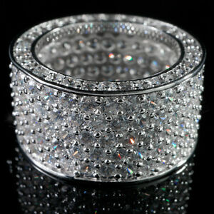 18K White Gold 11mm Out Iced Lab Diamond Silver ETERNITY Wedding Band Mens Ring