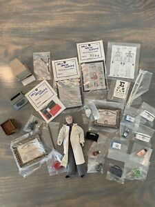 VINTAGE DOLLHOUSE MINIATURE DOCTOR'S OFFICE LOT 32 PIECES SOME METAL