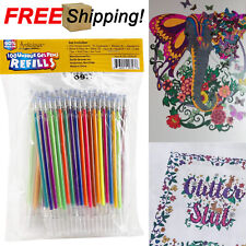 100 Unique Gel Pen Refills Set Coloring Books Non Toxic Acid Free Glitter Neon