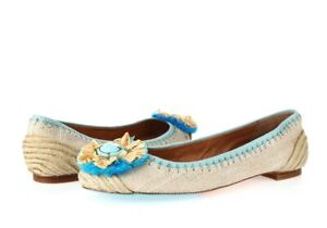 Womens Juicy Couture Beige/Blue Fabric/Leather Ballet Flats Sz. 8 M NEW