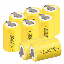 12PC Yellow 1.2V 2200mAh BTY NiCd 4/5 SubC Sub C Ni-Cd Rechargeable Battery &Tab