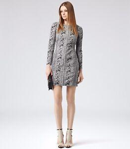Reiss Fion Black White Snakeskin Bodycon Mini Dress Size 10