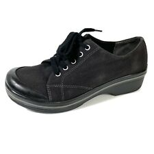 Dansko Vegan Women Sneakers Black Canvas Lace Up Comfort Shoes Size 39 US 8.5-9