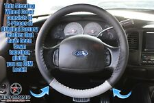 2003 Ford F-150 Harley-Davidson -Leather Wrap Steering Wheel Cover, Black/Gray