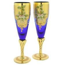 GlassOfVenice Set of Two Murano Glass Champagne Flutes 24K Gold Leaf - Blue