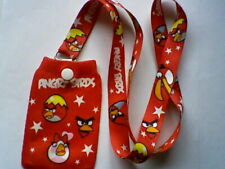 BIRD LANYARD/ NECK STRAP & PHONE SOCK,  RED , WHITE WRITING, ANGRY, NEW