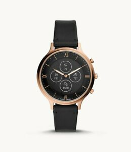 Fossil HR Charter Stainless Steel Black Leather Hybrid SmartWatch 42mm FTW7011
