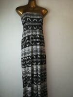 Maxi dress beach George 14 black white tube top stretch holiday summer party