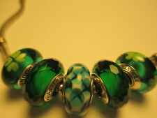 5 Authentic Pandora Silver 925 Ale Christmas Green Facet Kiss Irish Beads Charms
