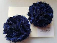 2 Girls small  2 inch Satin and mesh Flower ...Flower Hair Clip Navy blue x 2