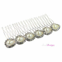 Bridal Wedding Vintage Style Crystal & Pearl Silver Hair Comb Slide Clip HC13