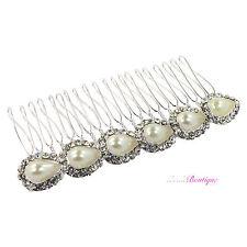 Bridal Wedding Vintage Style Crystal & Pearl Silver Hair Comb Slide Clip HC13