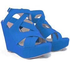 Para mujeres damas de salón con Plataforma Bloque Alto-Slip On sandalsplease tamaño de pedido infierno arriba