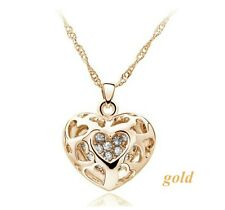 18K Gold GP Rhinestone Heart Crystal Pendant Jewellery Necklace Gold Colour