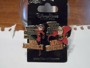 The Incredibles Mr & Mrs Incredible Disney Trading Pins - Brand New - on Card!!