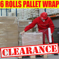 6 X STRONG ROLLS CLEAR PALLET STRETCH SHRINK WRAP CAST PARCEL PACKING CLING FILM