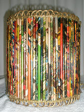 Vintage Waste Basket Handmade Rolled Paper Rick Rack Unique