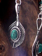 NATIVE AMERICAN FEATHER EARRINGS LEAF GREEN TURQUOISE SILVER BLESSED SHIELD