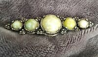 Vintage Connemara Agate Glass Scottish Silver Tone Bar Costume Brooch Pin