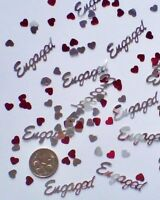Wedding Table Scatters Foil Confetti Engaged - Red & Silver Mix