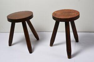 2 Anciens Tabourets  Tripode de Traite  Vintage Style  PERRIAND CHAPO  en Bois