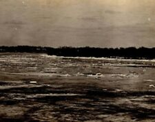 Vintage  Real Photo The Mighty Mississippi ice melting Davenport Iowa c 1911