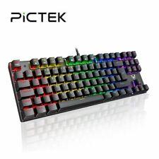 PICTEK Mechanische Mini-Gamer-Tastatur Kleine RGB LED 87Tasten Computer Keyboard