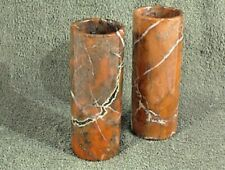 "VINTAGE MARBLE CYLINDER VASE 6"" TALL PAIR BROWN TAN WHITE TURKEY STONE"