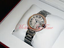 Cartier Ballon Bleu 33mm 18kt Rose Gold Diamond Bezel & Stainless Steel WE902080