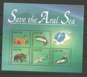Turkmenistan Block 6  postfrisch 1996 Aralsee, Fische, Säugetiere