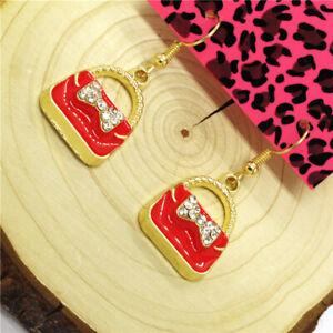 Hot Red Enamel Cute Girl Handbag Bow Sweet Betsey Johnson Women Stand Earrings